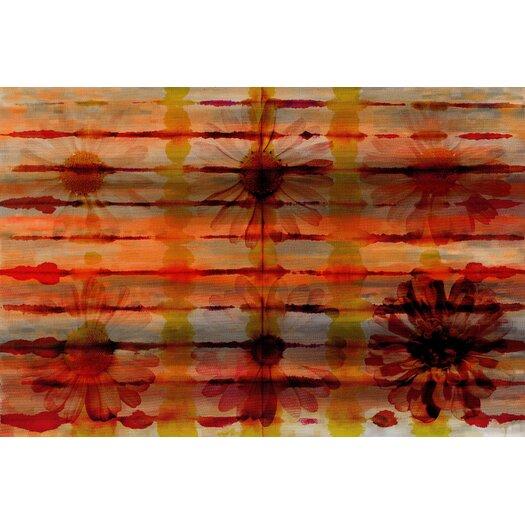 Orange Floral Burst Graphic Art on Premium Wrapped Canvas