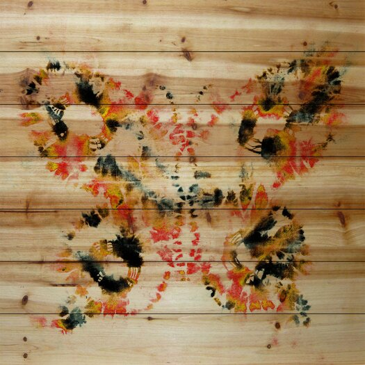 Painted Butterfly-Wall Art on Natural Pine Wood