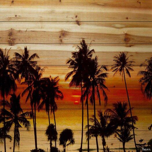 Landscape & Nature Sunset Palms Painting Print