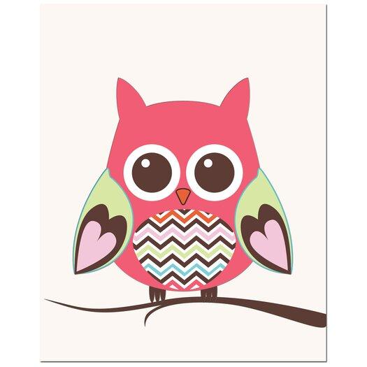 Secretly Designed Zig Zag Belly Owl on Tree Art Print