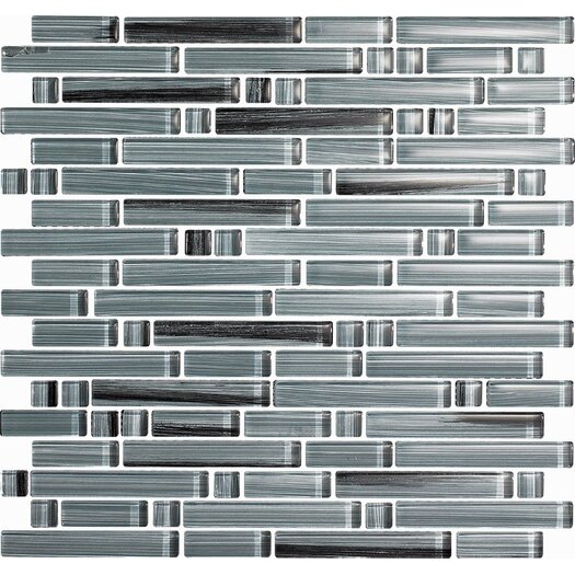 Epoch Architectural Surfaces Brushstrokes Peltro Random Sized Glass Mosaic Tile in Gray