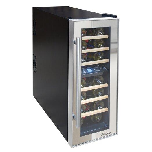Vinotemp Mirrored 21 Bottle Dual Zone Freestanding Wine Refrigerator