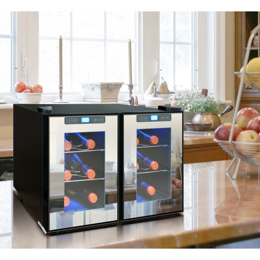Vinotemp Mirrored 12 Bottle Dual Zone Freestanding Wine Refrigerator