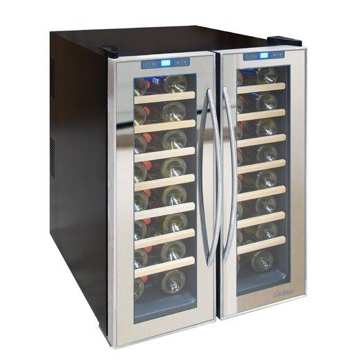Vinotemp Mirrored 48 Bottle Dual Zone Freestanding Wine Refrigerator