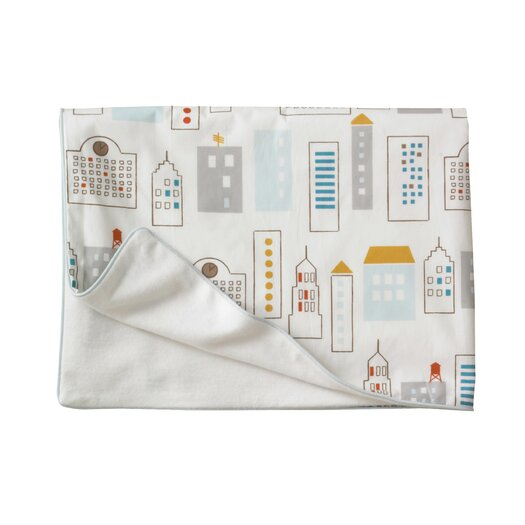 DwellStudio Skyline Light Blue Velour Stroller Blanket