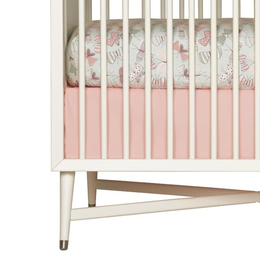 DwellStudio Rosette Solid Pink Canvas Crib Skirt