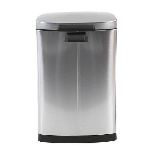 simplehuman 10.5 Gallon Semi Round Step Trash Can in Stainless Steel