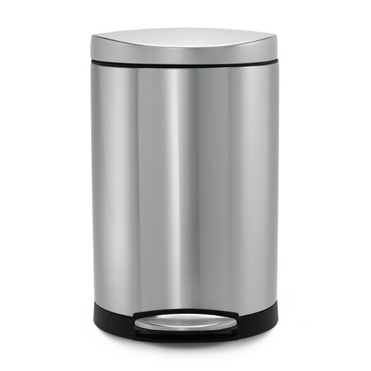 simplehuman 2.6 Gal. Semi Round Step Trash Can in Stainless Steel