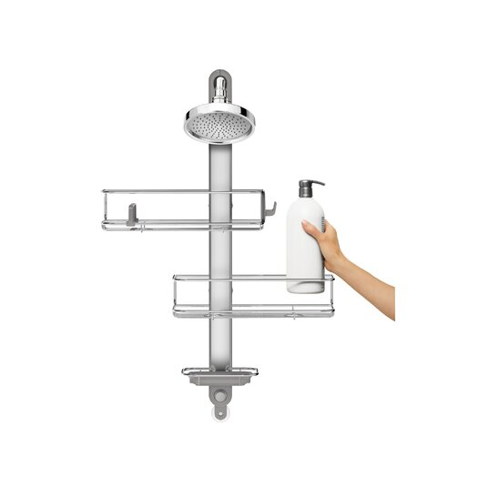 simplehuman Adjustable Shower Caddy in Stainless Steel & Anodized Aluminum