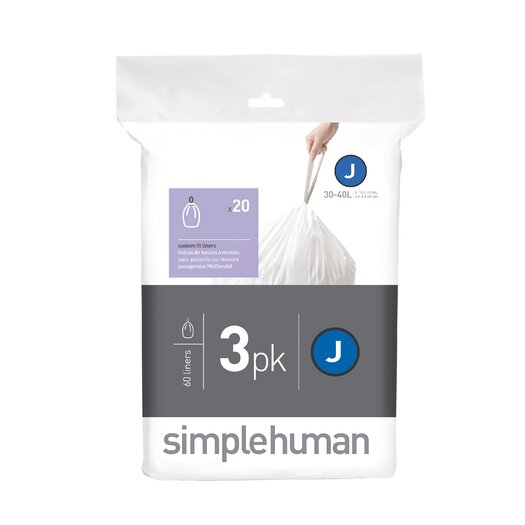 simplehuman Code J Custom Fit Liners (60 Count)