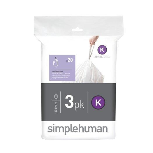 simplehuman Code K Custom Fit Liners (60 Count)