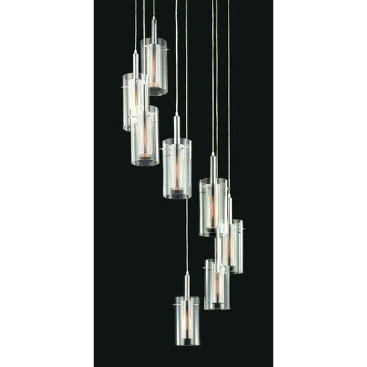 Sonneman Zylinder Contemporary 8 Light Linear Foyer Pendant