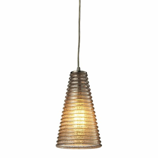 Elk Lighting Ribbed Glass 1 Light Mini Pendant