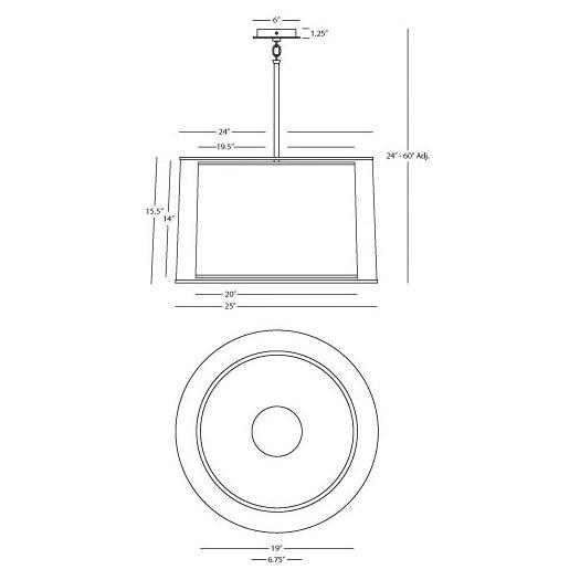 Robert Abbey Saturnia 3 Light Drum Pendant