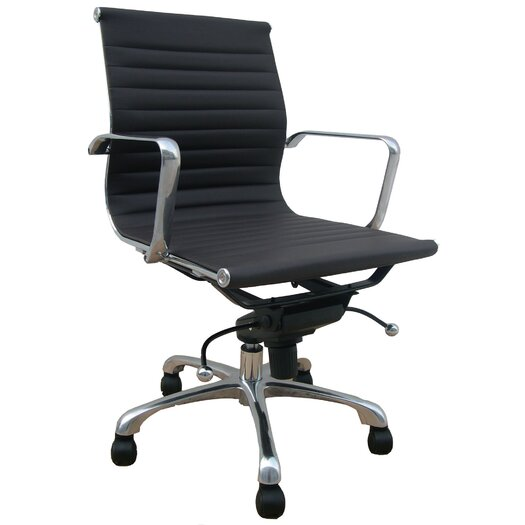 Creative Images International Low Back Leatherette Office Chair with Chrome Base