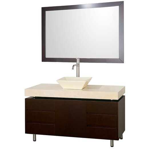 "Wyndham Collection Malibu 48"" Single Bathroom Vanity Set with Mirror"