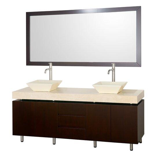 "Wyndham Collection Malibu 72"" Double Bathroom Vanity Set with Mirror"