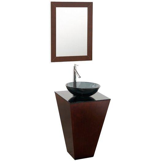 "Wyndham Collection Esprit 20"" Single Pedestal Bathroom Vanity Set with Mirror"
