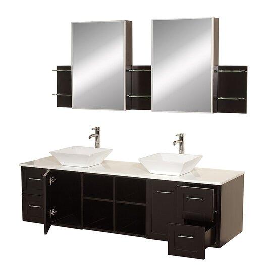 "Wyndham Collection Avara 72"" Double Bathroom Vanity Set with Mirror"