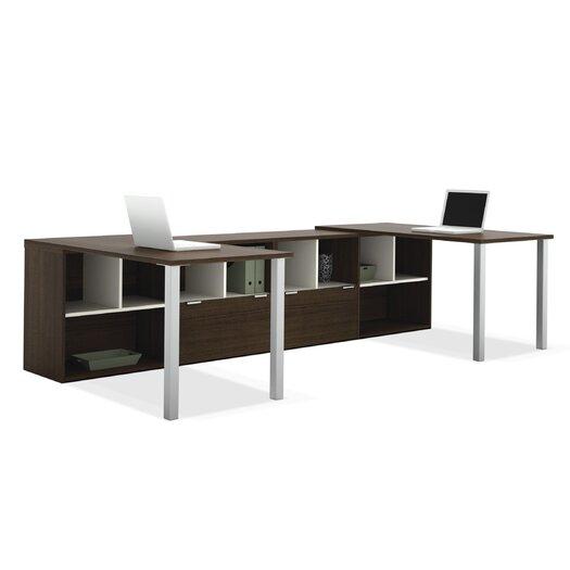 Bestar Contempo Double Computer Desks with Storage