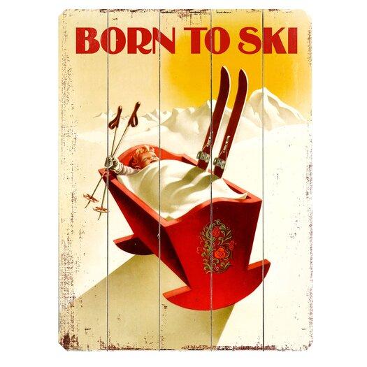 Artehouse LLC Born to Ski Vintage Advertisement Plaque