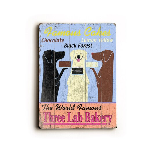 Artehouse LLC Three Lab Bakery Planked Vintage Advertisement Plaque