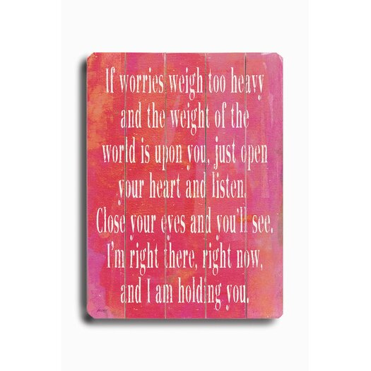 Artehouse LLC If Worries Weigh Too Heavy #1 by Lisa Weedn Textual Art Plaque