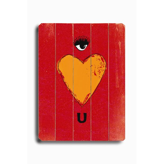 Artehouse LLC Eye Heart U Planked Graphic Art Plaque