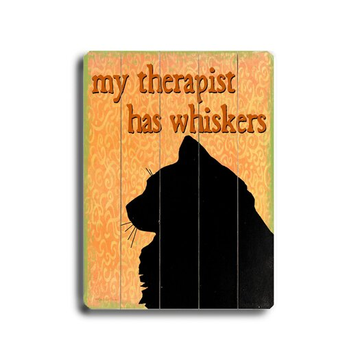 Artehouse LLC My Therapist Has Whiskers Planked by Kate Ward Thacker Graphic Art Plaque