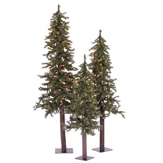 Vickerman Natural Alpine Green Artificial Christmas Tree with 185 Clear Lights