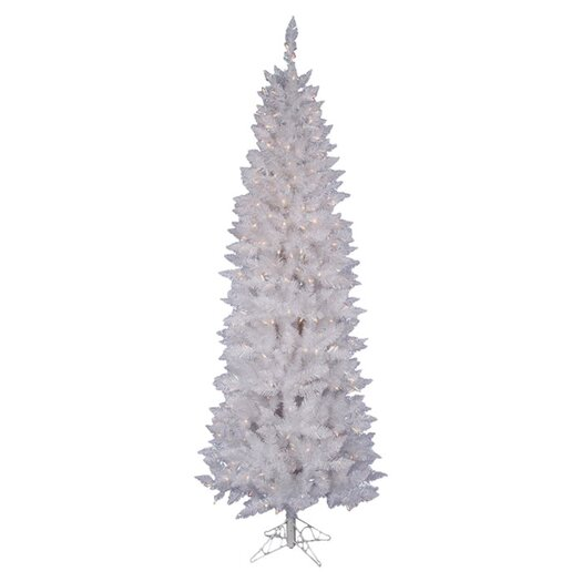 Vickerman Co. Crystal White Spruce Pencil 6' Artificial Christmas Tree with 180 LED White Lights with Stand