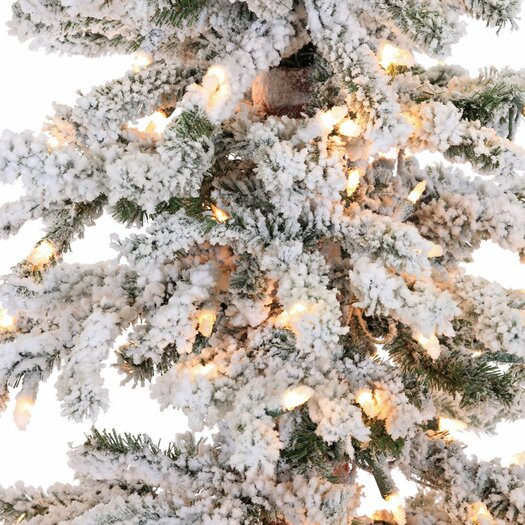 Vickerman Co. 5' Flocked Spruce Alpine White Artificial Christmas Tree with 250 Clear Lights
