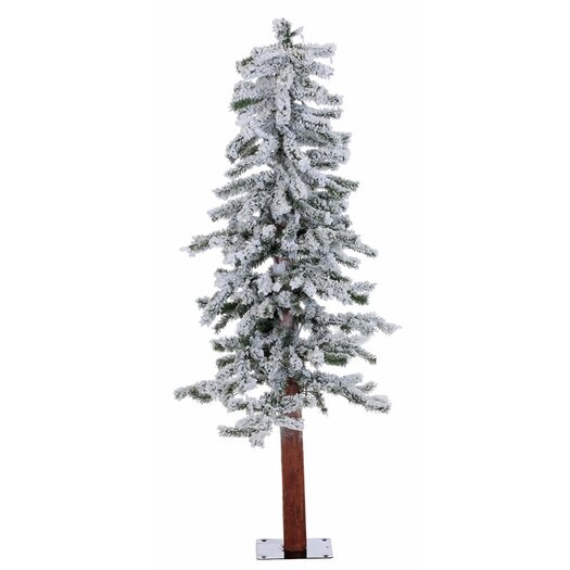 Vickerman Co. 4' Flocked Alpine White Artificial Christmas Tree with 100 Clear Lights