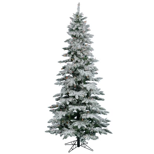 Vickerman Flocked Utica Fir 6.5' White Artificial Christmas Tree with 275 Multicolored LED Lights with Stand