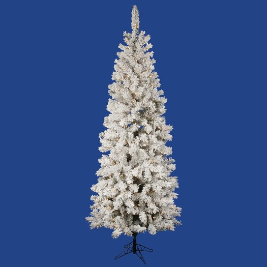 Vickerman Flocked Pacific Pine 6.5' White Artificial Pencil Christmas Tree with 300 Clear Lights with Stand