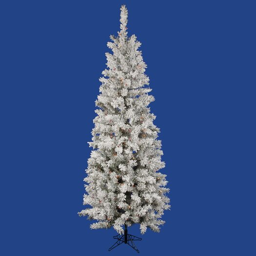 Vickerman Co. 6.5' White Pacific Pine Artificial Christmas Tree with 300 Multi-Colored Lights and Flocked Branches with Stand