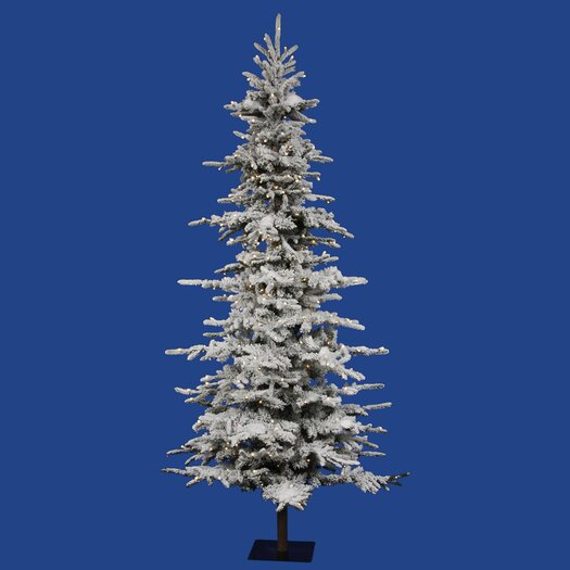 Vickerman Co. Flocked Georian Fir 7.5' Green Artificial Christmas Tree with 315 LED Lights with Stand
