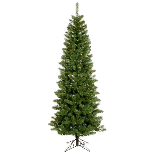 Vickerman Salem Pencil Pine 6.5' Green Artificial Christmas Tree with 250 Multicolored Lights with Stand