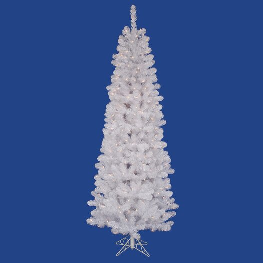 Vickerman Co. White Salem Pencil Pine 7.5' Artificial Christmas Tree with 270 LED Warm White Lights with Stand