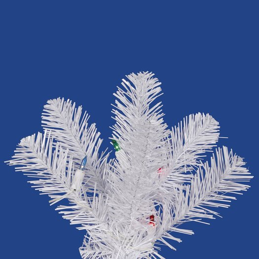 Vickerman Co. White Salem Pencil Pine 5.5' Artificial Christmas Tree with 165 LED Multicolored Lights with Stand