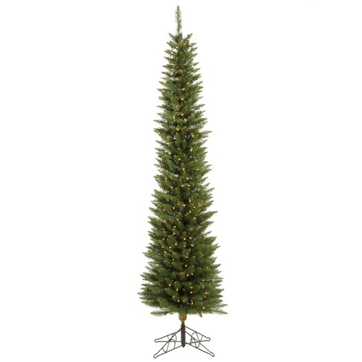 Vickerman Durham Pole Pine 6.5' Green Artificial Christmas Tree with 180 LED Warm White Lights with Stand