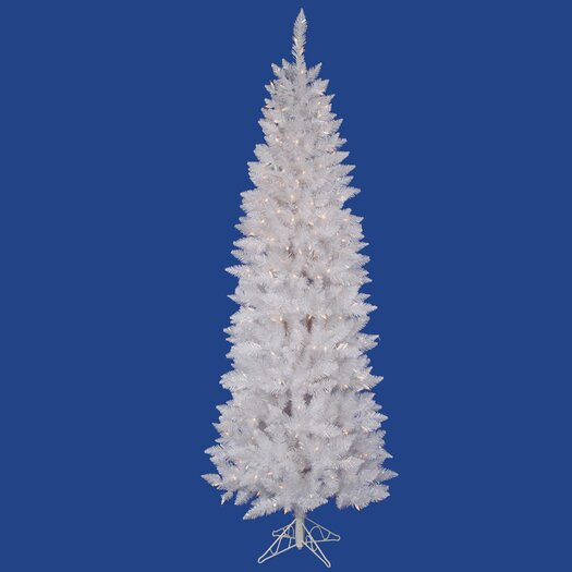 Vickerman Co. Crystal White Spruce Pencil 6'  Artificial Christmas Tree with 165 LED Multicolored Lights with Stand