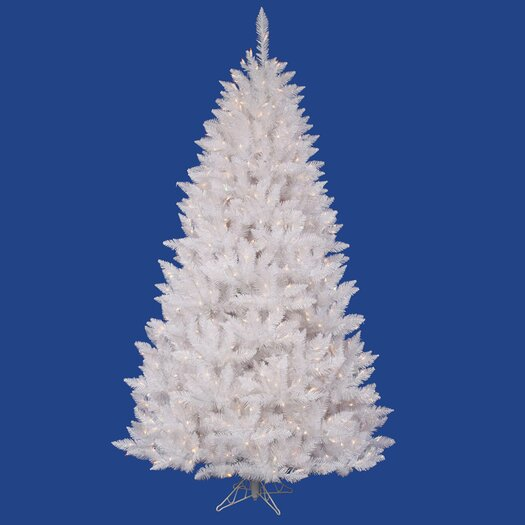 Vickerman Co. Crystal White Spruce 7.5' Artificial Christmas Tree with 495 LED White Lights with Stand