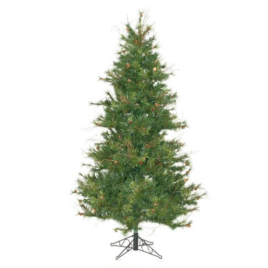 Vickerman Mixed Country Pine Slim 7.5' Green Artificial Christmas Tree with Stand