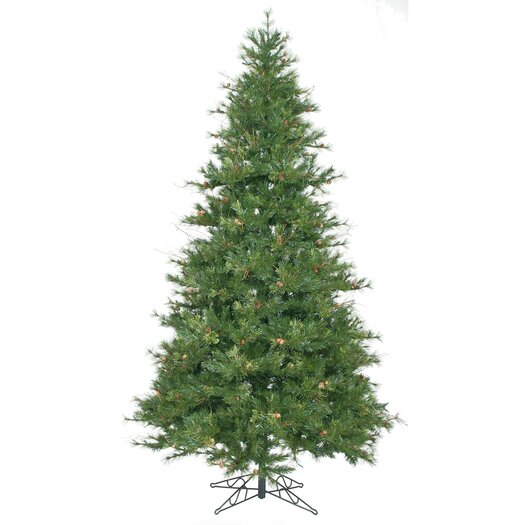 Vickerman Mixed Country Pine 7.5' Green Slim Artificial Christmas Tree with Stand
