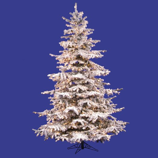 Vickerman Co. Flocked Sierra Fir 6.5' White Artificial Christmas Tree with 550 Clear Lights with Stand