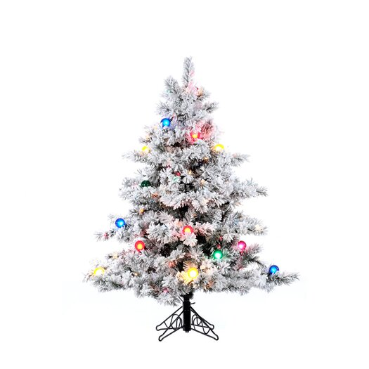 Vickerman Flocked Alaskan 4.5' White Artificial Christmas Tree with 200 Multicolored Lights with Stand