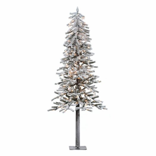 Vickerman Flocked Alpine 7' White Artificial Christmas Tree with 300 Clear Lights