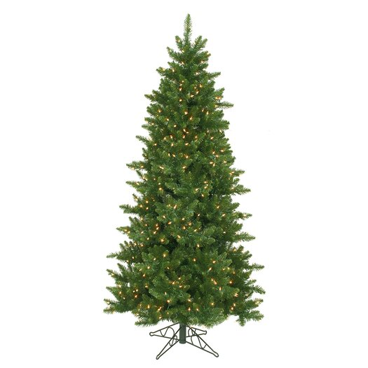 Vickerman Camdon Fir 6.5' Green Artificial Slim Christmas Tree with 550 Clear Lights with Stand