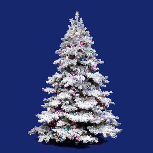 Vickerman Flocked Alaskan 10' White Artificial Christmas Tree with 1400 Clear Lights with Stand
